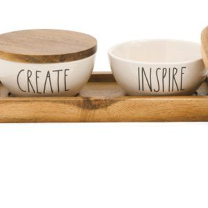 RAE DUNN 3pc Create And Inspire Bowls And Tray Set